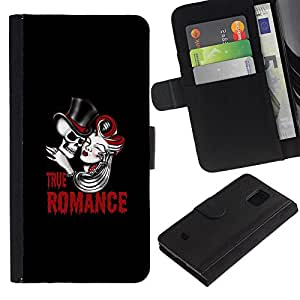 EJOY---Tirón de la caja Cartera de cuero con ranuras para tarjetas / Samsung Galaxy S5 Mini, SM-G800 / --Verdadero cráneo Romance