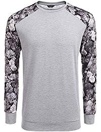 Men's Fashion Floral Long Sleeve Baseball T-Shirts Casual Jersey Sweatshirt