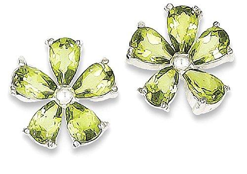 ICE CARATS 925 Sterling Silver Green Peridot Floral Post Stud Ball Button Earrings Flower Gardening Fine Jewelry Gift Set For Women Heart