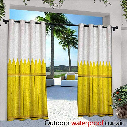 "Yellow Outdoor- Free Standing Outdoor Privacy Curtain Colorful Wooden Picket Fence Design Suburban Community Rural Parts of Country for Front Porch Covered Patio Gazebo Dock Beach Home W108"" x L84"" Y"