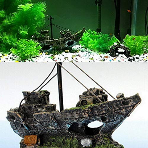 Inveroo Decorative Rocks Ship Resin Fishing Shipwreck Boat Aquarium Ornament Plastic Decoration Plant for Fish Tank Accessories 14xcmx5.5cmx12cm