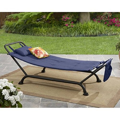 Mainstays Belden Park Cushion Hammock, Black with Indigo Blue