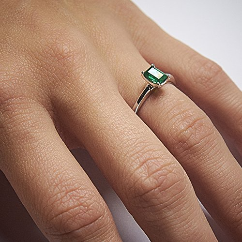 Emerald-Cut-Engagement-Ring-Genuine-18K-White-Gold-Solitaire-shape-Size-65-Colombian