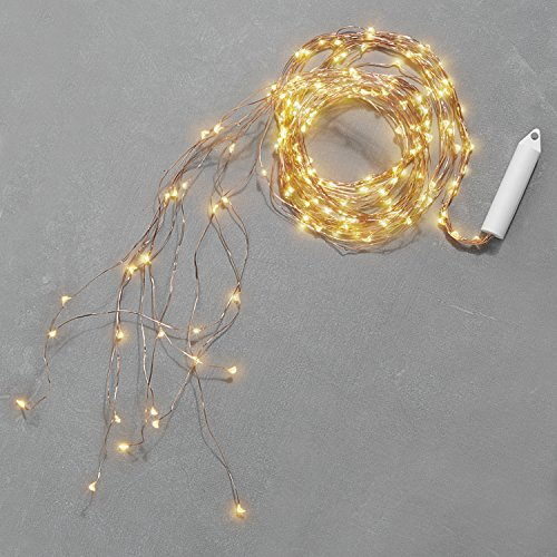 LampLust Fairy Spray String Lights - Waterproof Outdoor, 9 Strand Cascading Waterfall Garland Light, Warm White Twinkling LEDs, Copper Bendable Wire, 8.5 Feet, Cordless Battery Operated ()