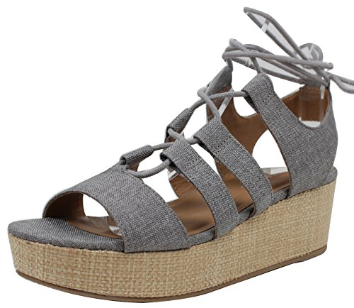 Stad Geclassificeerde Dames Open Teen Linnen Strappy Lace Up Geweven Stro Flatform Sandaal Grijs