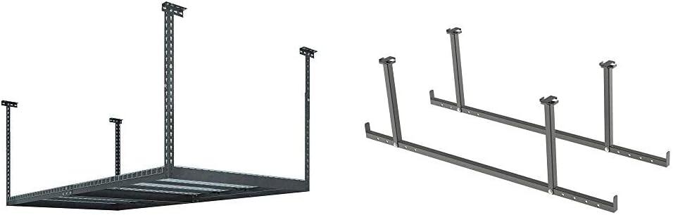 NewAge Products VersaRac 4' by 8' Ceiling Mount Overhead Garage Storage Rack, Grey - 40151 & Products VersaRac Gray 2 Piece Accessory Kit, Garage Overheads, 40190