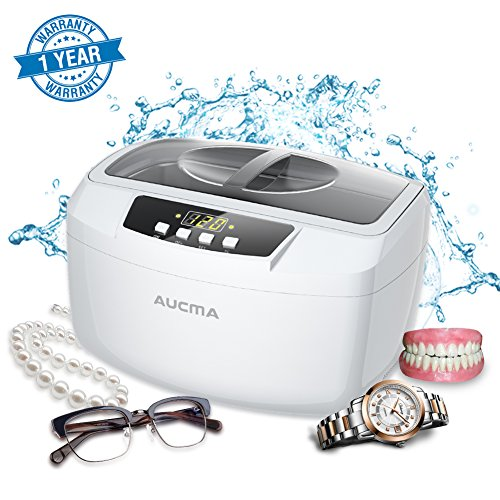 Ultrasonic Cleaner Professional Industrial Heated 2.5L Ultrasonic Cleaners with Digital Timer for Jewelry Eyeglasses Lenses Necklaces Watches Rings Denture Coins