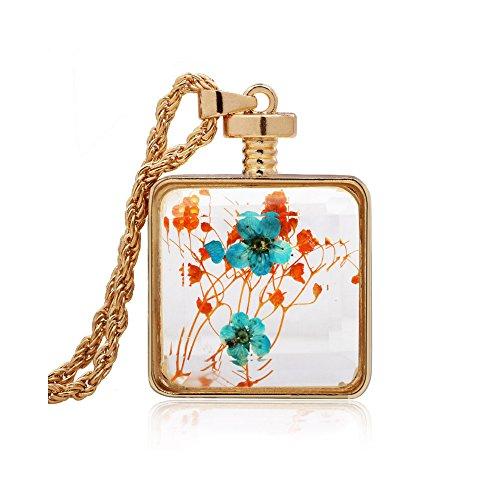 Winter's Secret Square Shape Orange and Blue Dried Flower Glass Pendant Gold Color Twist Chain Necklace