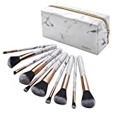 Zodaca 10-piece Professional Marble Makeup Brushes Makeup Brush Set with White Marble Zipper Cosmetic Bag Cosmetic Case Travel Case for Ladies Women