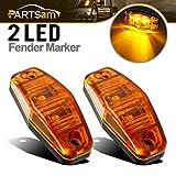 Partsam 2 Pcs LED Light 2 Diode Amber Universal Surface Mount Side Marker Trailer (Size: 2.53 x 1.06 x 0.71 inch)