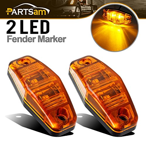 Partsam 2 Pcs LED Light 2 Diode AMBER Universal Surface Mount Clearance Side Marker Trailer (Size: 2.53 x 1.06 x 0.71 inch)