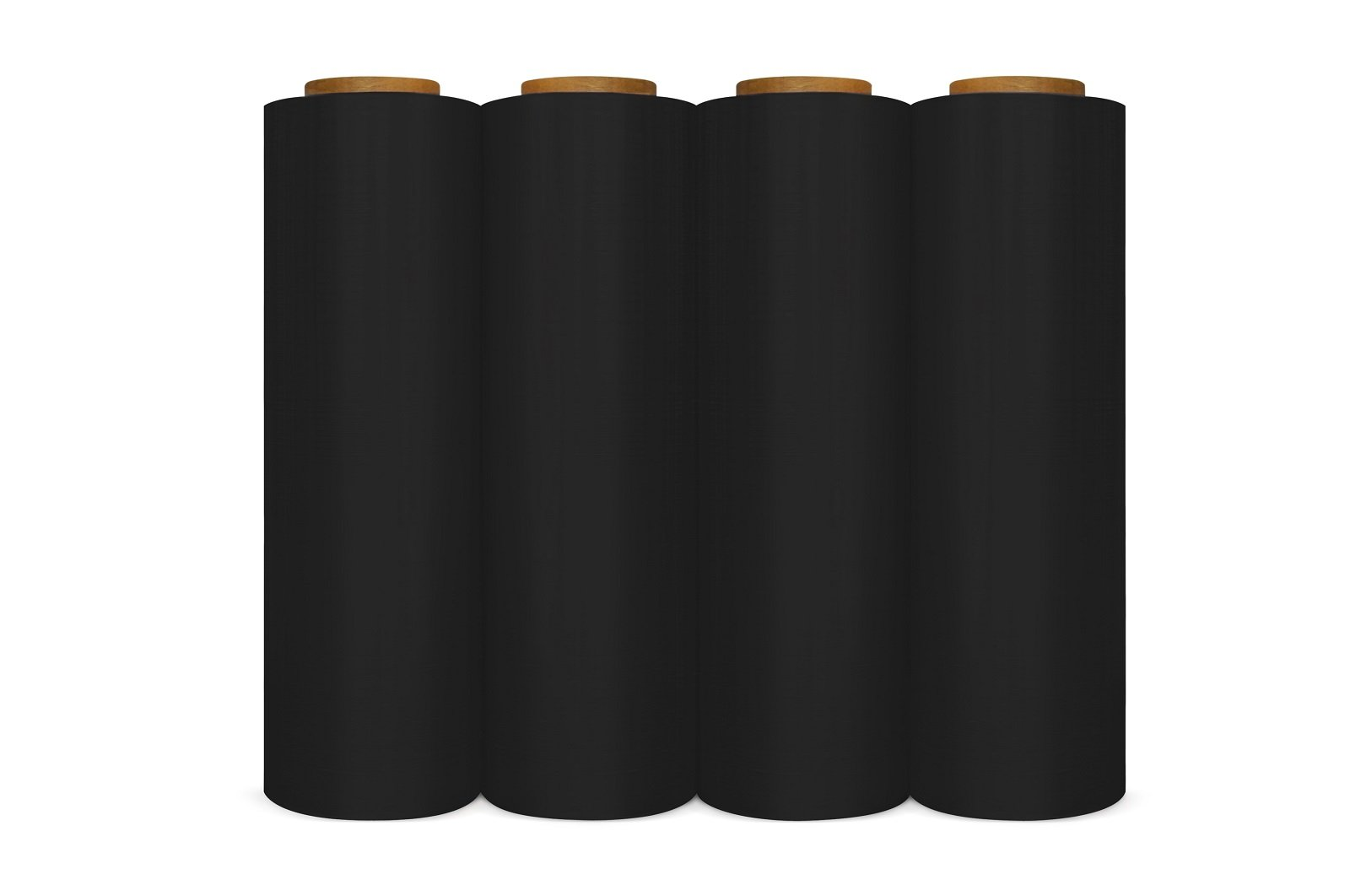 4 Rolls Black Hand Pallet Wrap Plastic Stretch Film 18'' Wide x 1000 Ft.