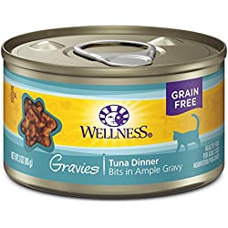 Wellness Natural Pet Food Canned Grain Free Wet Gravies Tuna Dinner Cat Food, 3 oz