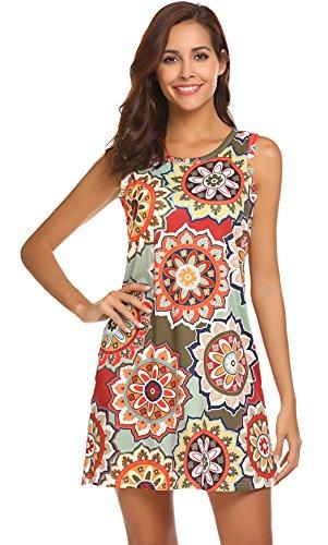 SimpleFun Women's Casual Sleeveless Sundress Bohemian Floral Printed Swing Dress Summer Dress with Pockets (M, Olive) (Bohemian Sundress Dress)