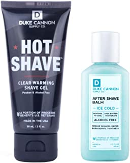 product image for Duke Cannon Supply Co. - Mens Perfect Shave Travel Size Gift Set (2 Piece Set) Includes 1 Hot Shave Clear Warming Shave Gel (2 oz) & 1 Ice Cold After-Shave Balm (2.3 oz)