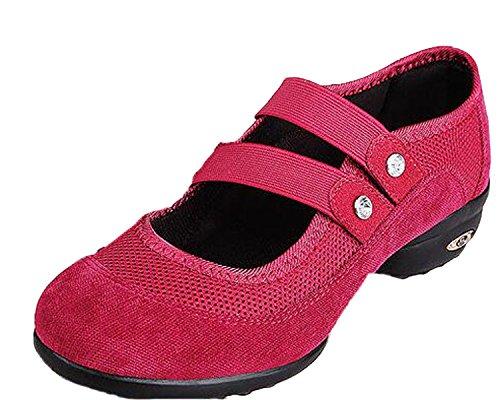 Dance Red VECJUNIA Sneaker Ladies Walking Trainer Dance Shoes Htfv1q