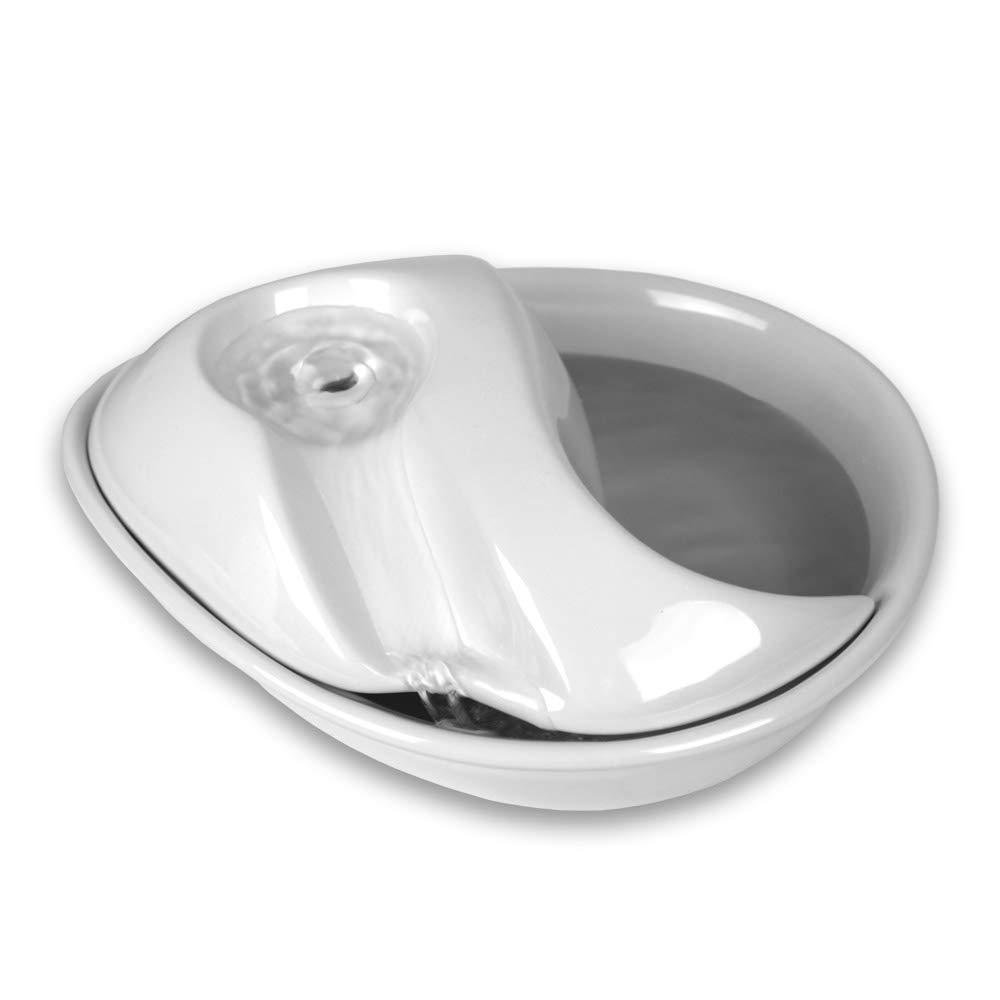Pioneer Pet Raindrop Ceramic Drinking Fountain for Pets, White