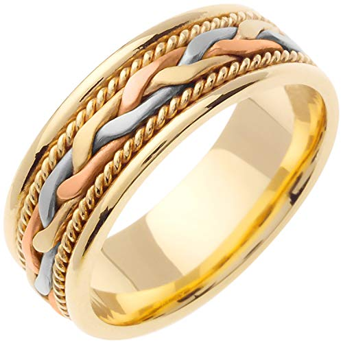 (14K Tri Color Gold Braided French Braid Men's Comfort Fit Wedding Band (7mm) Size-13c1)