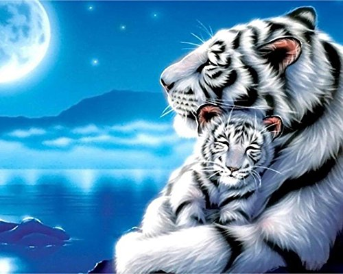 21secret 5D Diamond Diy Painting Full Drill Handmade White Tiger Mother Child Under Moonlight Starry Sky Cross Stitch Home Decor Embroidery Kit