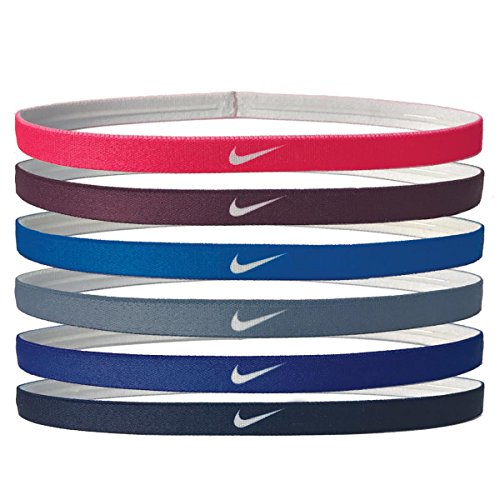 Nike Printed Headbands Assorted 6pk (RACER PINK/BORDEAUX/PHOTO BLUE) (Braided Headband Nike)