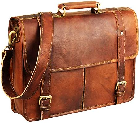 15 Inch Brown Vintage Leather laptop messenger bag
