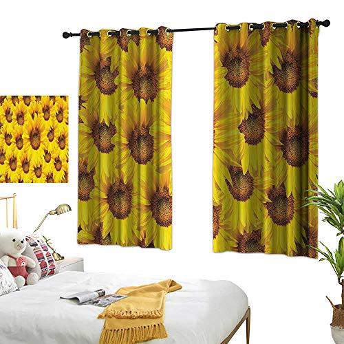 (Warm Family Light Luxury high-end Curtains Sunflower Decor Collection Sunflower Bloom Bouquet Flourishing Flower Botany Morning Vibrant Color Picture Privacy Protection 55