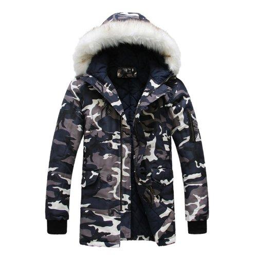 Hombre Lujo pelo sintético largo invierno Trench Coat Chaqueta con capucha Parka Capote multicolor camouflage: Amazon.es: Ropa y accesorios
