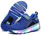 Ausom Boys Girls Glint Light Up Single Wheel Double Wheels Kids LED Roller Shoes Skates Sneakers