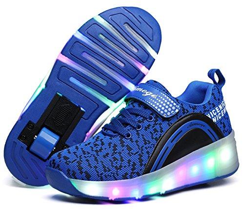 Ausom Boys Girls Glint Light Up Single Wheel Double Wheels Kids LED Roller Shoes Skates Sneakers ()