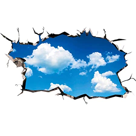 Beautiful Iwallsticker Removable 3D Blue Sky White Clouds Wall Stickers Ceiling Floor  Tile Decals For Kids Room