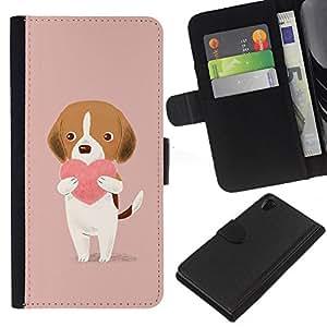 KLONGSHOP // Tirón de la caja Cartera de cuero con ranuras para tarjetas - corazón rosa dibujo lindo valentín melocotón - Sony Xperia Z2 D6502 //