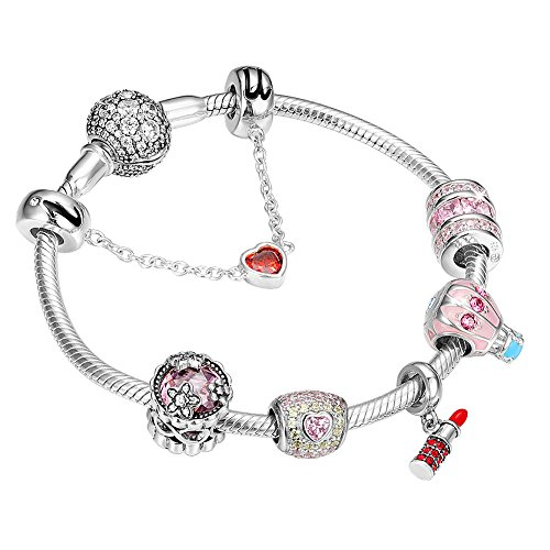 SOUFEEL ''Pretty Women'' Bracelet 925 Sterling Silver Charms Bracelets 7.9 Inch Bangle With Safety Chain Thanksgiving Gift by SOUFEEL
