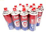 12 Cans Super Flame Butane Gas Cartridge Fuel Containers for Portable Camping Stoves
