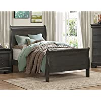 Mayville Sleigh Bed in Stained Grey - Twin