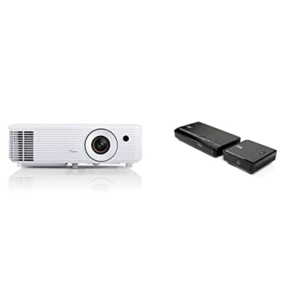 Optoma HD27 - Proyector (3200 lumens, FHD, 2W, HDMI), color blanco + Optoma WHD200 - Kit HDMI Inalámbrico, color negro