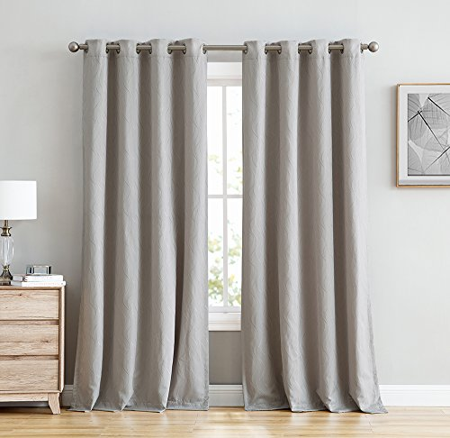 HLC.ME Camden 100% Blackout Thermal Window Curtain Grommet Panels - Energy Efficient, Complete Darkness, Noise Reducing - For Living Rooms & Bedrooms - Set of 2 (50
