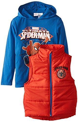 Marvel Little Boys' Spiderman Vest and Hoodie Set, Blue, 5/6
