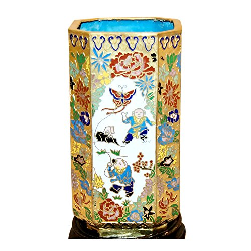 - Cloisonne Pencil Holder (Gold and White with Butterfly Kite)