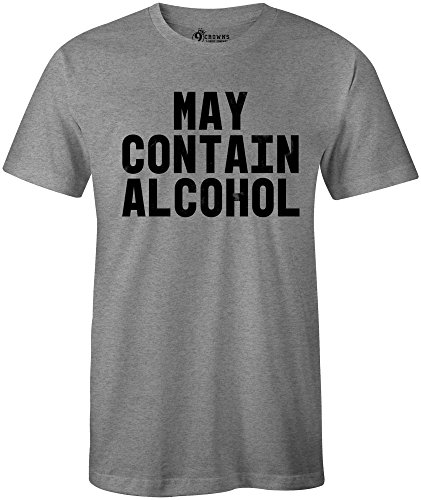 (9 Crowns Tees Men's May Contain Alcohol Drinking T-Shirt-MC Heather-2XL)