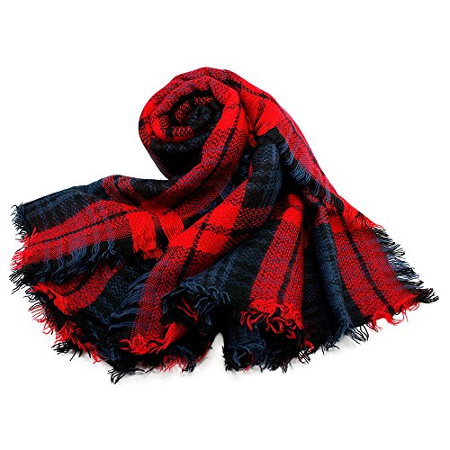 Oct17 Plaid Scarfs for Women Pashmina Tartan Wrap Large Warm Blanket Soft Shawl Checked Winter Fall Scarfs Scarves for Woman – Red