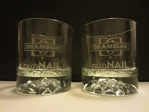 Drambuie Rusty Nail whisky liqueur glasses set of 2, crushed ice pattern lowball rocks cocktail