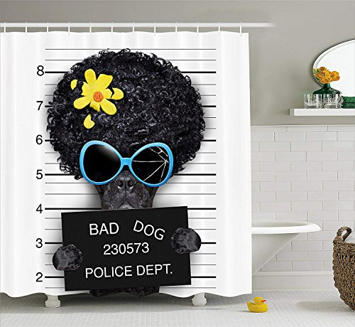 Funny Shower Curtain, Mug Shot of Hippie Wanted Dog Criminal Puppy Afro Boxer Gangster Prison Humor Theme, Fabric Bathroom Decor Set with Hooks, 60 W x 72 L inches, Black Yellow