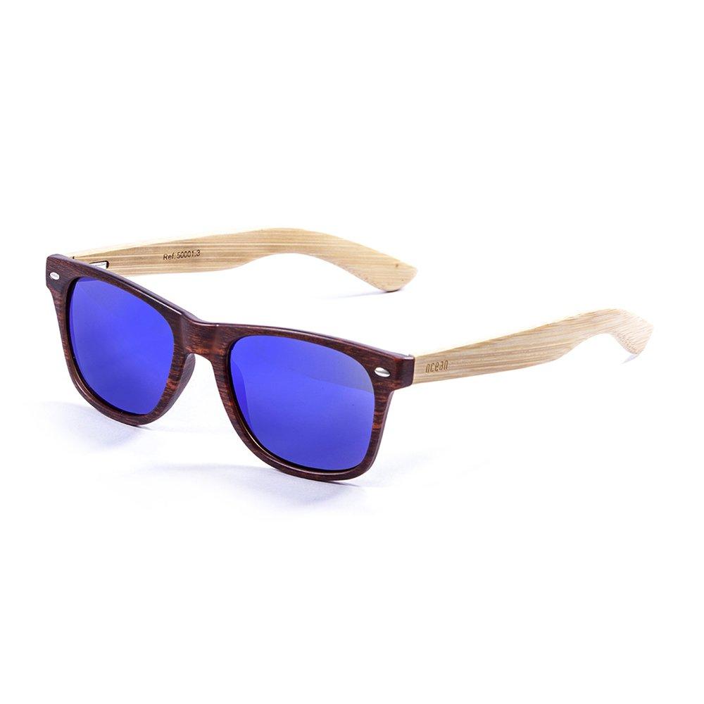 Ocean Sunglasses Beach Wood - Lunettes de Soleil en Bambou - Monture : Bambou - Verres : Revo Bleu (50001.3) ZU8TK