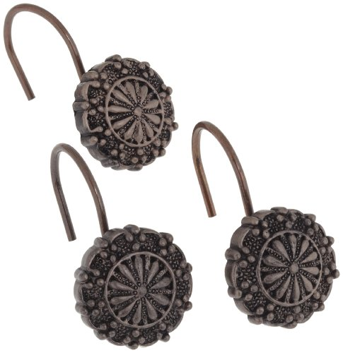 Carnation Home Fashions PHP-SH/67 Sheffield Resin S/C Hooks in Oil Rubbed Bronze, Set of 12,