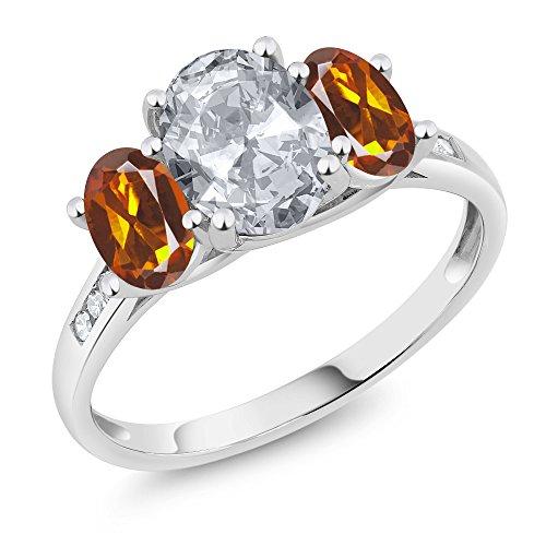 Genuine Madeira Citrine Ring - Gem Stone King 10K White Gold Diamond Accent Oval White Topaz Orange Red Madeira Citrine 3-Stone Ring 2.10 Ct (Size 6)