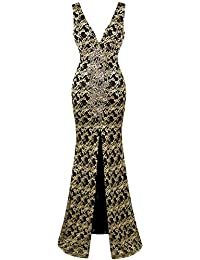Angel-fashions Women's Sleeveless Deep V Neck Embroidery Slit Party Dresses