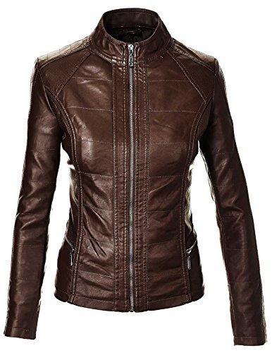 LL Womens Biker Chic Faux Leather Jacket XS COFFEE