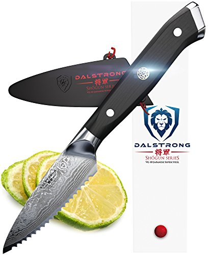 "DALSTRONG Serrated Paring Knife - 3.5"" - Shogun Series - Damascus - AUS-10V Japanese Super Steel - Vacuum Treated - Sheath Included 1 A Dalstrong culinary revolution combining outstanding and award-winning craftsmanship, cutting-edge breakthrough technology, awe-inspiring design, and the absolute best materials available. Ideal for tough-skinned fruit (such as tomatoes, oranges, lemons, limes, kiwis, avocados and more) and vegetables with soft interiors, small crusty loaves, pastries, and dried or tough meats. The blade is also suited for detailed cutting and scoring patterns and designs on surfaces of food. Unrivaled Performance: Ruthlessly sharp scalpel like edge is hand finished to a mirror polish within a staggering 8-12°degree angle using the traditional 3-step Honbazuke method. Nitrogen cooled for enhanced harness, flexibility and corrosion resistance. Full tang for superb robustness and triple riveted for even more resilience. Dalstrong Power: An ultra sharp AUS-10V Japanese super steel cutting core at 62+ Rockwell hardness: extraordinary performance and edge retention. 66 layers of premium high-carbon stainless steel layers ensure exceptional strength, durability and stain resistance. Perfectly balanced, the precisely tapered blade minimizes surface resistance for buttery smooth cut through and enhanced non-stick properties. Remarkably patterned with Dalstrong's stunning 'tsunami-rose' Damascus layers."