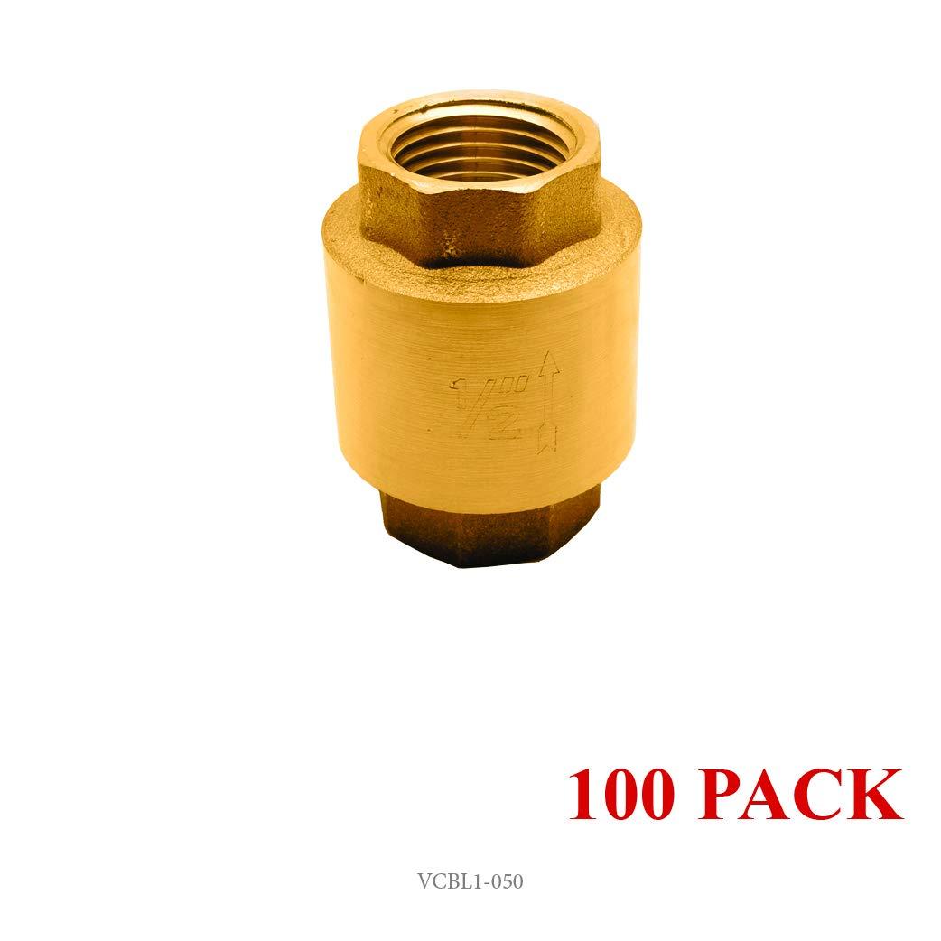 1 Brass in-Line Spring Check Valve 200WOG FxF NPT Vertical
