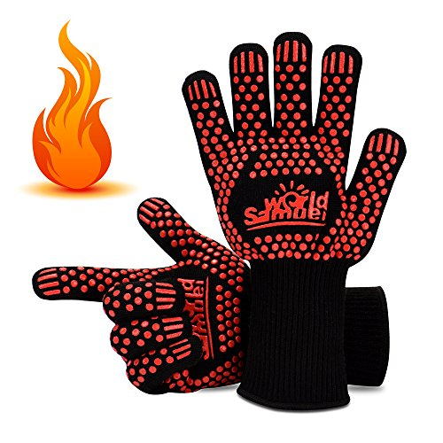 Samuelworld BBQ/ Grill Gloves Heat Resistant Oven Gloves& Oven Mitts For Cooking Baking Smoker Grilling(1 Pair), Long ()